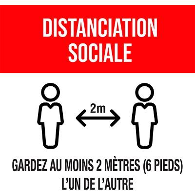 """Sterling Social Distancing Floor Decal, French, Merci Pour La Pratique De La Distanciation Sociale, Black/White on Red, 12"""" x 12"""" QTY1-9"""