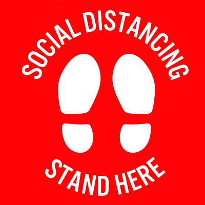"""Sterling Social Distancing Floor Decal, English, Stand Here, White on Red, 12"""" x 12"""" QTY1-9"""
