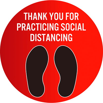 "Sterling Social Distancing Floor Decal, English, Thank You For Practicing Social Distance, Black/White on Red, 12"" QTY1-9"