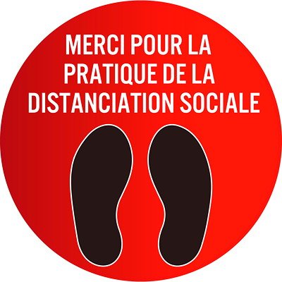 "Sterling Social Distancing Floor Decal, French, Merci Pour La Pratique De La Distanciation Sociale, Black/White on Red, 12"" QTY1-9"