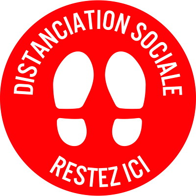 """Sterling Social Distancing Floor Decal, French, Restez Ici, White on Red, 12"""" QTY1-9"""