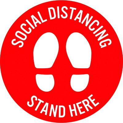 "Sterling Social Distancing Circular Carpet Decal, English, Stand Here, White on Red, 12"" QTY1-9"