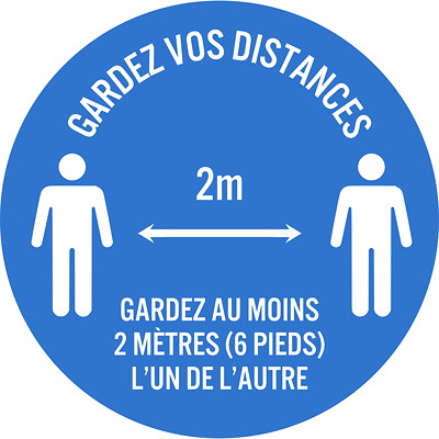"Sterling Social Distancing Floor Decal, French, Gardez Vos Distances - Gardez Au Moins 2 Mètres L'Un De L'Autre, White on Blue, 12"" QTY1-9"