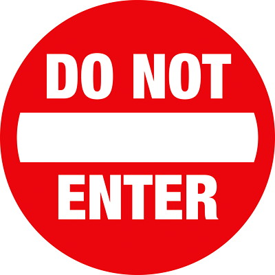 """Sterling Social Distancing Floor Decal, English, Do Not Enter, White on Red, 12"""" QTY1-9"""