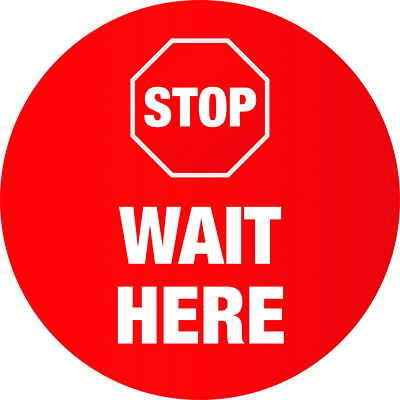 """Sterling Social Distancing Floor Decal, English, Stop Wait Here, White on Red, 12"""" QTY1-9"""