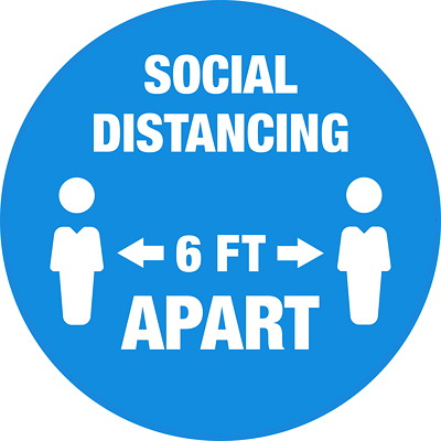 "Sterling Social Distancing Floor Decal, English, Social Distancing 6 FT Apart, White on Blue, 12"" QTY1-9"