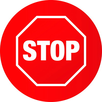 """Sterling Social Distancing Circular Carpet Decal, English, Stop Sign, White on Red, 12"""" QTY1-9"""