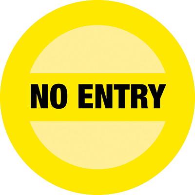"Sterling Social Distancing Circular Carpet Decal, English, No Entry, Black on Yellow, 12"" QTY1-9"