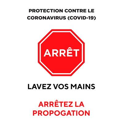 "Sterling Light Gauge Plastic Social Distancing Sign, French, Arrêt - Lavez Vos Mains, 12"" x 18"" QTY1-9"