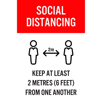 "Sterling Social Distancing Floor Decal, English, Keep At Least 2 Metres From One Another, Black/Red/White, 12"" x 18"" QTY1-9"