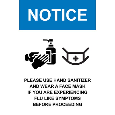 "Sterling Re-Stick Cling Vinyl Social Distancing Sign, For Glass, Adhesive Front, English, Notice - Please Use Hand Sanitizer and Wear a Face Mask, Black/Blue/White, 12"" x 18"" QTY1-9"