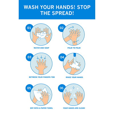 "Sterling Light Gauge Plastic Social Distancing Sign, English, Wash Your Hands - Stop the Spread, Assorted Colours, 12"" x 18"" QTY1-9"