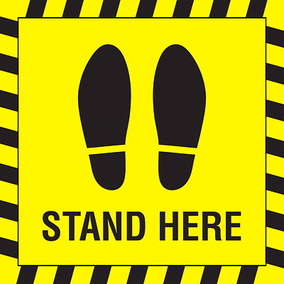 "Sterling Social Distancing Carpet Decal, English, Shoe Imprint with Stand Here, Black on Yellow, 12"" x 12"" QTY1-9"