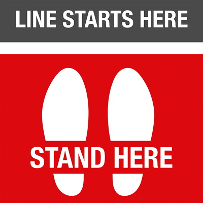 "Sterling Social Distancing Floor Decal, English, Line Starts Here - Stand Here, Black/Red/White, 12"" x 12"" QTY1-9"