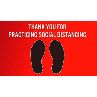 "Sterling Social Distancing Floor Decal, English, Thank You For Practicing Social Distance, Black/White on Red, 12"" x 18"" QTY1-9"