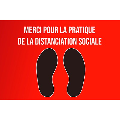 "Sterling Social Distancing Floor Decal, , French, Merci Pour La Pratique De La Distanciation Sociale, Black/White on Red, 12"" x 18"" QTY1-9"
