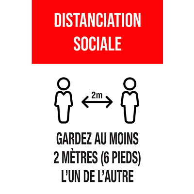 "Sterling Social Distancing Floor Decal, French, Merci Pour La Pratique De La Distanciation Sociale, Black/White on Red, 12"" x 18"" QTY1-9"