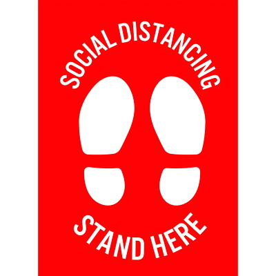 "Sterling Social Distancing Floor Decal, English, Stand Here, White on Red, 12"" x 18"" QTY1-9"