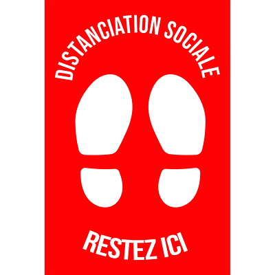 """Sterling Social Distancing Floor Decal, French, Restez Ici, White on Red, 12"""" x 18"""" QTY1-9"""