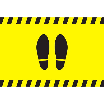 """Sterling Social Distancing Carpet Decal, Shoe Imprint, Black on Yellow, 12"""" x 18"""" QTY1-9"""