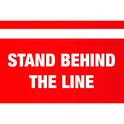 "Sterling Social Distancing Floor Decal, English, Stand Behind the Line, White on Red, 12"" x 18"" QTY1-9"