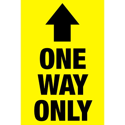 "Sterling Social Distancing Floor Decal, English, One Way Only, Black on Yellow, 12"" x 18"" QTY1-9"
