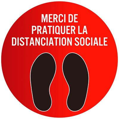 Autocollant circulaire de distanciation sociale pour tapis Sterling, français, Merci de pratiquer la distanciation sociale, noir et blanc sur fond rouge, 12po QTé 1-9