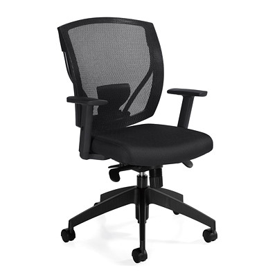 Offices To Go Mid-Back Ibex Synchro-Tilter Ergonomic Chair, Black Jenny Fabric Seat and Mesh Back JENNY FABRIC/MESH BACK MEDIUM BACK