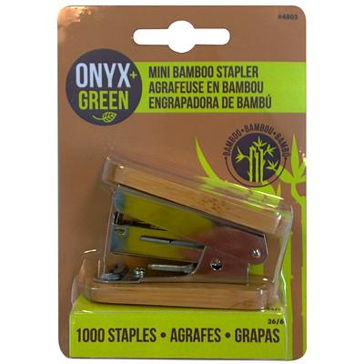 Onyx+ Green Bamboo Mini Stapler MINI STAPLER  BAMBOO  + 1000 S MINI STAPLER  BAMBOO  + 1000 S