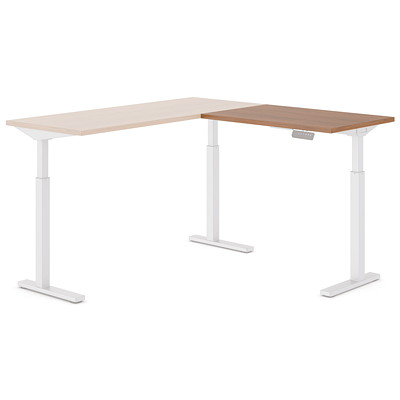 "Offices To Go Ionic Electric Height-Adjustable Return Table Top, Winter Cherry, 35"" x 23"" x 1"" WINTER CHERRY FINISH 3 LEG HAT"