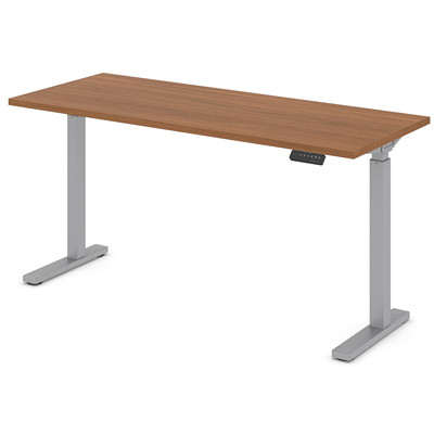 """Offices to Go Ionic Sit-2-Stand Electric Height Adjustable Rectangular Table, Winter Cherry, 60"""" x 24"""" x 28""""-45 1/4"""" HEIGHT ADJUSTABLE TABLE"""