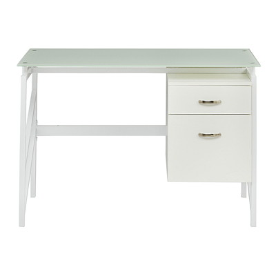 Safco SOHO Glass Top Desk with 2-Drawer Pedestal, White Laminate/Glass WHITE TOP  WHITE FRAME