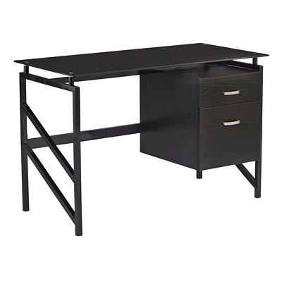 Safco SOHO Glass Top Desk with 2-Drawer Pedestal, Black Laminate/Glass BLACK TOP  BLACK FRAME