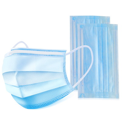 Globe Commercial Products 3-Ply Disposable Masks, Blue, Adult Size, 50/BX