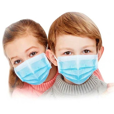 Globe Commercial Products 3-Ply Disposable Masks, Blue, Child Size, 50/BX 3-PLY  LATEX FREE