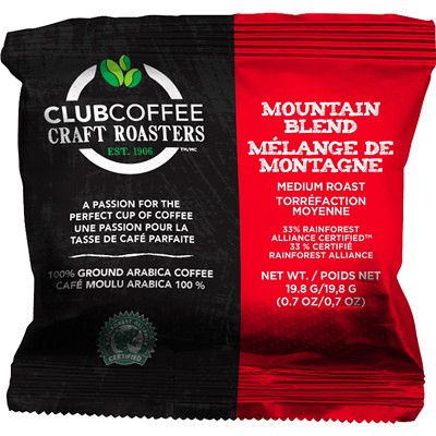 Club Coffee Craft Roasters Mountain Blend Ground Coffee, 100/CS - Alberta Residents Only FRAC PACK P0 ONLY