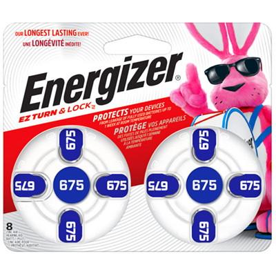 Energizer EZ TurnLock Zinc Air Hearing Aid Batteries, Blue, Size 675, 8/PK 8/PK CUST SPECIFIC
