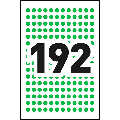 """Avery Non-Printable Removable Colour-Coding Labels, Green, 1/4"""" Diameter, 192 Labels/Sheet, 4 Sheets/PK  1/4"""" ROUND GREEN"""