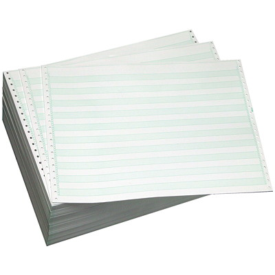 "Domtar Green Bar Lined Continuous Computer Paper, White/Green, 14 7/8"" x 11"", 1-Part, 2,700 Sheets/CT 1/2"" GREEN BAR 2700/CTN"