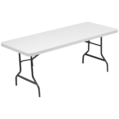 Realspace Molded Plastic Top Folding Table, Platinum Grey, 6'