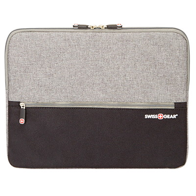 "SwissGear Laptop Sleeve, Black/Grey, Fits Laptops up to 14"" (SWC0127) BLK/GRY POLY 14"" LAPTOP SLEEVE PLUSH FUR LINED 14"" LAPTOP SLE"