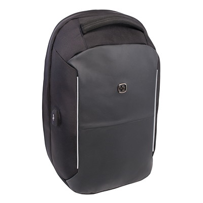 """SwissGear Anti-Theft Backpack with USB Port, Black, Fits Laptops up to 15"""" (SWA2713) BLACK POLY 15.6"""" COMP BACKPACK 15.6"""" COMPUTER BACKPACK"""