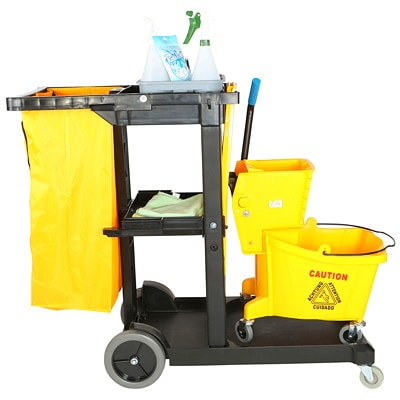 Globe Commercial Products Janitors Cart  ACCOMODATE MOST BUCKET/WRINGER INCL.100L H/DUTY ZIPPERED BAG