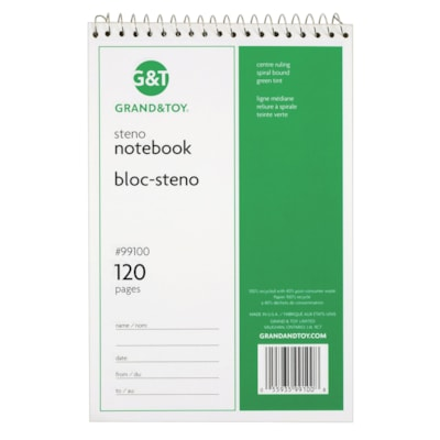 """Grand & Toy Steno Notebook, Green, 6"""" x 9"""", 120 pages GREEN TINT PAPER RULED BOTH SIDES CENTRE LINE"""