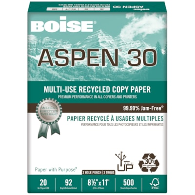 Papier recyclé à usages multiples Aspen 30 Boise, 20 lb, format lettre, 3 trous, emb. de 500 RECYCLÉ 30% POST-CONSOM. 20LB BRILLANCE 92  500/PQT  3 TROUS