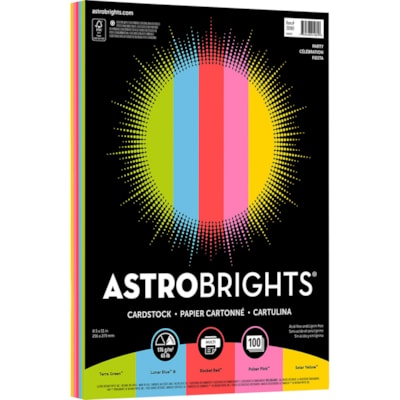 """Neenah Astrobrights Cover Paper, """"Party"""" 5-Colour Assortment, Letter-Size, FSC Certified, 65 lb., Ream PARTY COLS 100/PK FSC & GREEN SEAL CERTIFIED"""