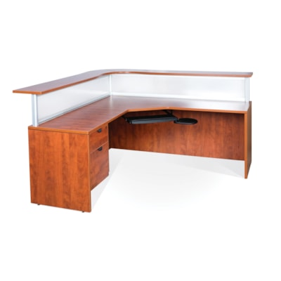 """HDL Reception Gallery, Autumn Maple, Left-handed AUTUMN MAPLE FINISH 77""""W X 77""""D X 43""""H"""