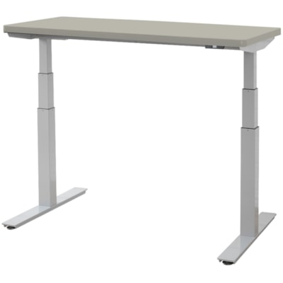 """ergoCentric upCentric Height-Adjustable Table, Dove Grey, 30"""" x 48"""" 30""""X48""""  ELECTRIC W 1 GROMMET SILVER FRAME  GREY TABLE TOP"""