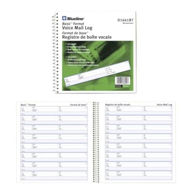 Blueline Voice Mail Log BASIC FORMAT  BILINGUAL 800 MESSAGES  8 PER PAGE