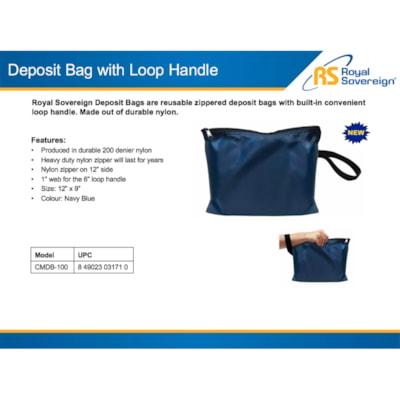 "Royal Sovereign Deposit Bag With Loop handle, Navy Blue, 12"" x 9"" WITH LOOP HANDLE NAVY BLUE"
